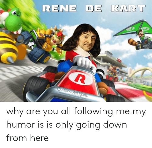Memes, Facebookcom, and Classical Art: RENE DE KART  CLASSICAL ART MEMES  facebookcom/classicalartimemes why are you all following me my humor is is only going down from here