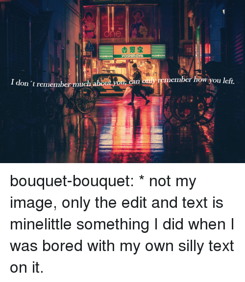 Bored, Target, and Tumblr: Rental  REE  Kimot  e a  OSHINOYA  I don 't remember much about you  n only remember how you left. bouquet-bouquet:  * not my image, only the edit and text is minelittle something I did when I was bored with my own silly text on it.