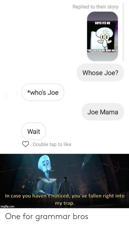 Trap, Ask, and Mama: Replied to their story  GUYS ITS OK  YOUCAN ASK ME WHO JOË IS  Whose Joe?  *who's Joe  Joe Mama  Wait  Double tap to like  In case you haven't noticed, you've fallen right into  my trap.  imgflip.com One for grammar bros