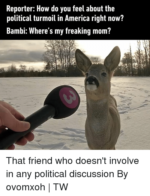 Bambi: Reporter: How do you feel about the  political turmoil in America right now?  Bambi: Where's my freaking mom? That friend who doesn't involve in any political discussion  By ovomxoh | TW