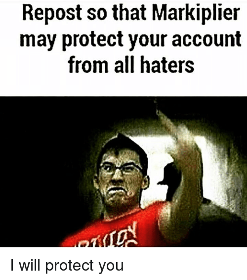 Markiplie: Repost so that Markiplier  may protect your account  from all haters I will protect you
