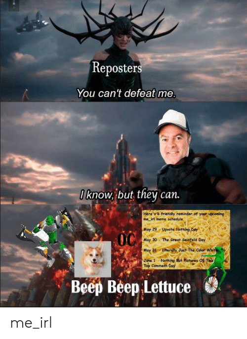 Irl Meme: Reposters  You can't defeat me.  Iknow, but they  can.  Here's a friendly reminder of your upcoming  me irl meme schedule.  May 29-Upvote Nothing Day  OC  May 30- The Great Seinfeld Day  Literally Just The Color Whit  May 31  Juna 1 Nothing But Pictures Of This  Top Comment Day  Beep Beep Lettuce me_irl