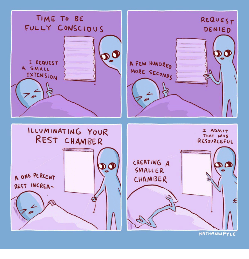 Time, Rest, and Creating A: REQUEST  TIME To BE  FULLY CONSCIOUS  DENIED  A FEW HUNDRED  MORE SECONDS  I REQUES T  A SMALL  EXTENSION  7.  I ADMIT  ILLUMINATING YOUR  REST CHAMBER  THAT WAS  RESOURCEFUL  CREATING A  SMALLER  A ONE PERCENT  REST INCREA  CHAMBER  NATHANWPYLE