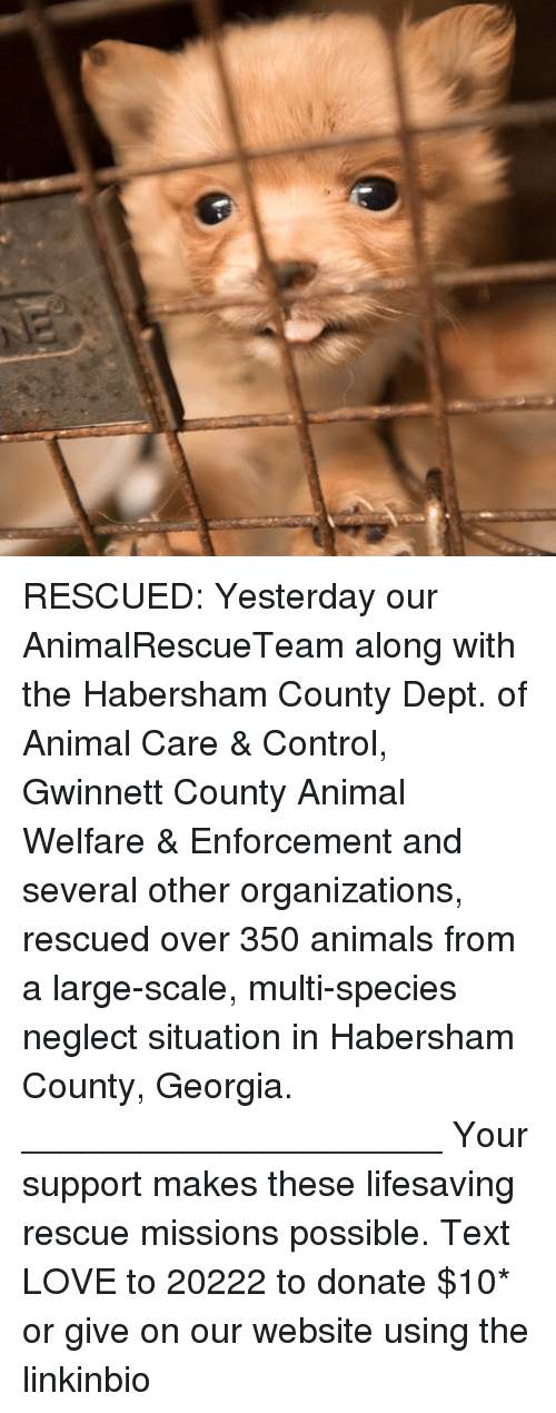 animal welfare: RESCUED: Yesterday our AnimalRescueTeam along with the Habersham County Dept. of Animal Care & Control, Gwinnett County Animal Welfare & Enforcement and several other organizations, rescued over 350 animals from a large-scale, multi-species neglect situation in Habersham County, Georgia. _____________________ Your support makes these lifesaving rescue missions possible. Text LOVE to 20222 to donate $10* or give on our website using the linkinbio