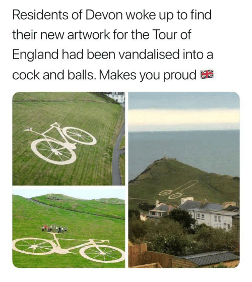 devon: Residents of Devon woke up to find  their new artwork for the lour of  England had been vandalised into a  cock and balls. Makes you proud