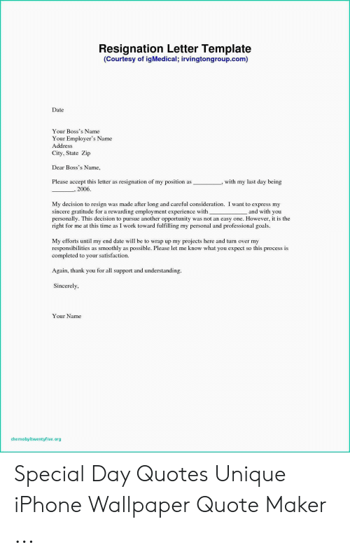letter template date  Resignation Letter Template Courtesy of igMedical ...