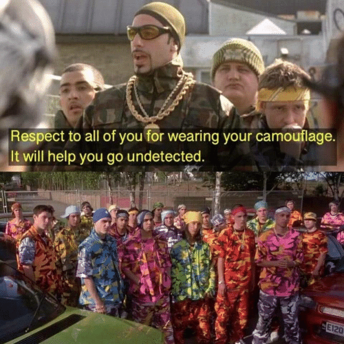 Respect, Help, and Will: Respect to all of you for wearing your camouflage.  It will help you go undetected.  E120