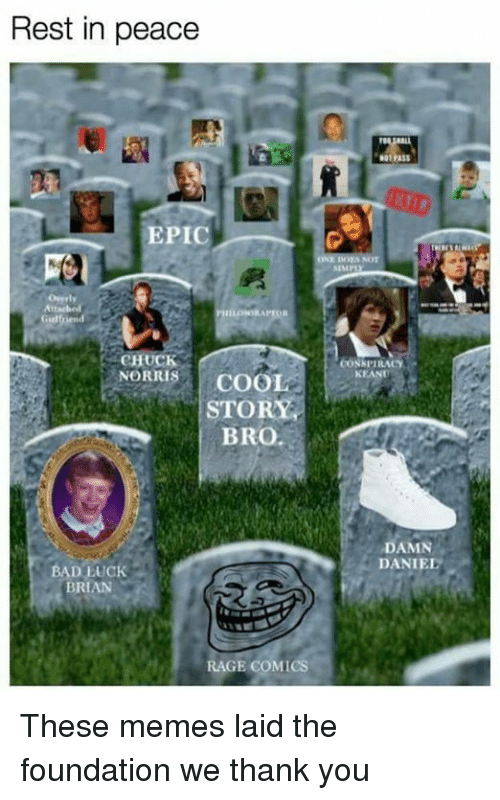 Damn Daniell: Rest in peace  EPIC  Girl rend  CHUCK  NORRIS  COOL  STORY  BRO.  BAD LUCK  BRIAN  RAGE COMICS  SIMP  CONK PIRACY  NEANT  DAMN  DANIEL These memes laid the foundation we thank you