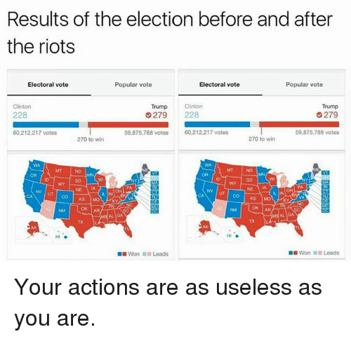 Clinton Trump: Results of the election before and after  the riots  Popular vote  Electoral vote  Electoral vote  Popular vote  Clinton  Clinton  Trump  Trump  228  G 279 228  279  59,875,788 votes  60,212,217 votes  59,875,788 votes  60,212,217 votes  270 to win  270 to win  NV UT CO KS  DE  Won Leads  Won Leads Your actions are as useless as you are.