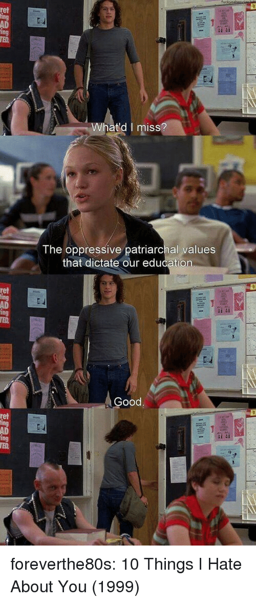 Ted, Tumblr, and 10 Things I Hate About You: ret  AD  ing  TED  Whatd I miss  ISS  The oppressive patriarchal values  that dictate our education  ret  AD  Good  ret  AD foreverthe80s:  10 Things I Hate About You (1999)