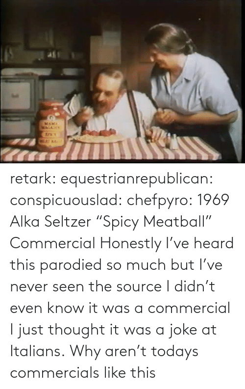 "Never: retark:  equestrianrepublican:  conspicuouslad:  chefpyro:  1969 Alka Seltzer ""Spicy Meatball"" Commercial  Honestly I've heard this parodied so much but I've never seen the source  I didn't even know it was a commercial I just thought it was a joke at Italians.  Why aren't todays commercials like this"