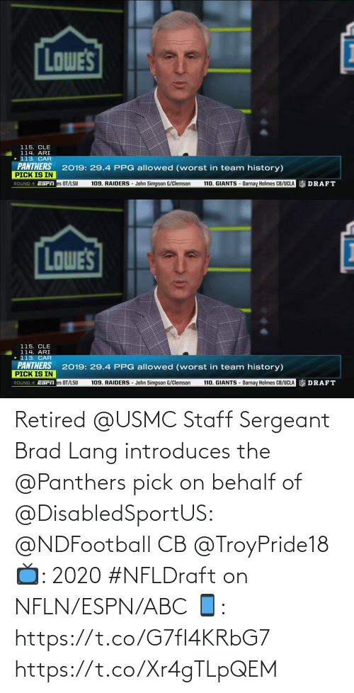 ABC: Retired @USMC Staff Sergeant Brad Lang introduces the @Panthers pick on behalf of @DisabledSportUS: @NDFootball CB @TroyPride18    📺: 2020 #NFLDraft on NFLN/ESPN/ABC 📱: https://t.co/G7fI4KRbG7 https://t.co/Xr4gTLpQEM