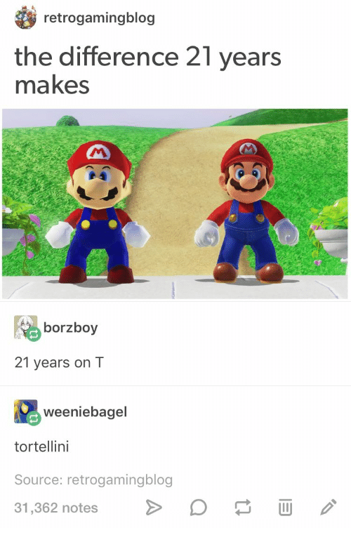 Source, Notes, and  Years: retrogamingblog  the difference 21 years  makes  borzboy  21 years on T  weeniebagel  tortellini  Source: retrogamingblog  31,362 notes>