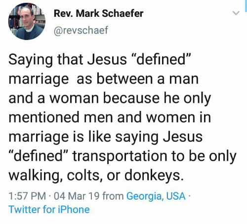 """Indianapolis Colts, Dank, and Iphone: Rev. Mark Schaefer  @revschaef  Saying that Jesus """"defined""""  marriage as between a man  and a woman because he only  mentioned men and women in  marriage is like saying Jesus  """"defined"""" transportation to be only  walking, colts, or donkeys  1:57 PM 04 Mar 19 from Georgia, USA  Twitter for iPhone"""