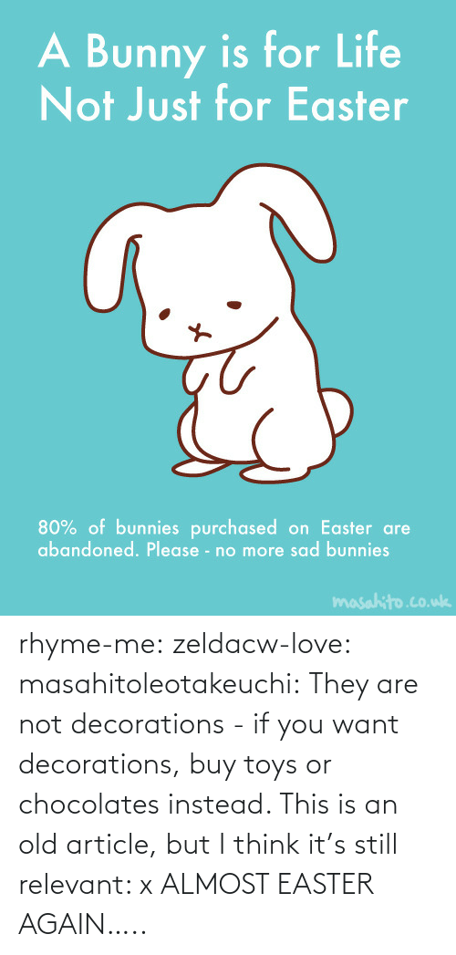 bunny: rhyme-me:  zeldacw-love:  masahitoleotakeuchi:  They are not decorations - if you want decorations, buy toys or chocolates instead.  This is an old article, but I think it's still relevant: x  ALMOST EASTER AGAIN…..