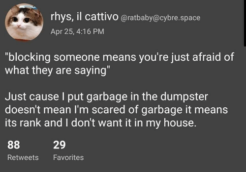 """My House, House, and Mean: rhys, il cattivo @ratbaby@cybre.space  Apr 25, 4:16 PM  """"blocking someone means you're just afraid of  what they are saying""""  Just cause I put garbage in the dumpster  doesn't mean I'm scared of garbage it means  its rank and I don't want it in my house.  29  Retweets Favorites"""
