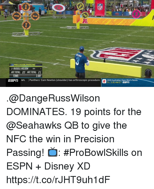 Russell Wilson: RI  PRECISION PASSING  3 RUSSELL WILSON SEA  AFC TOTAL: 22 NFC TOTAL: 21  TIME:  1:00  EST  NFL Panthers' Cam Newton (shoulder) has arthroscopic procedure  2019 stralian Open Men's Semis  Fri. 3:30 AM ET ESrT .@DangeRussWilson DOMINATES.  19 points for the @Seahawks QB to give the NFC the win in Precision Passing!  📺: #ProBowlSkills on ESPN + Disney XD https://t.co/rJHT9uh1dF