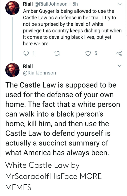 America, Dank, and Memes: Riall @RiallJohnson 5h  Amber Guyger is being allowed to use the  Castle Law as a defense in her trial. I try to  not be surprised by the level of white  privilege this country keeps dishing out when  it comes to devaluing black lives, but yet  here we are.  5  Riall  @RiallJohnson  The Castle Law is supposed to be  used for the defense of your  home. The fact that a white person  can walk into a black person's  home, kill him, and then use the  Castle Law to defend yourself is  actually a succinct summary of  what America has always been White Castle Law by MrScaradolfHisFace MORE MEMES