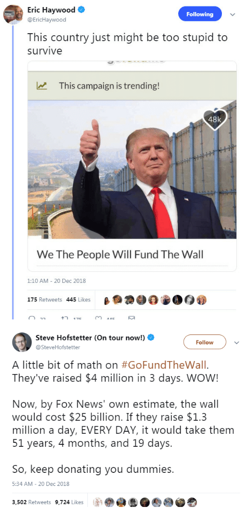 Too Stupid: ric HaywoO  Following  @EricHaywood  This country just might be too stupid to  survive  This campaign is trending!  48k  We The People Will Fund The Wall  1:10 AM - 20 Dec 2018  175 Retweets 445 Likes   Steve Hofstetter (On tour now!)  @SteveHofstetter  Followv  A little bit of math on #GoFundTheWall.  They've raised $4 million in 3 days. WOW!  Now, by Fox News' own estimate, the wall  would cost $25 billion. If they raise $1.3  million a day, EVERY DAY, it would take them  51 years, 4 months, and 19 days.  So, keep donating you dummies.  5:34 AM- 20 Dec 2018  3,502 Retweets 9,724 Likes