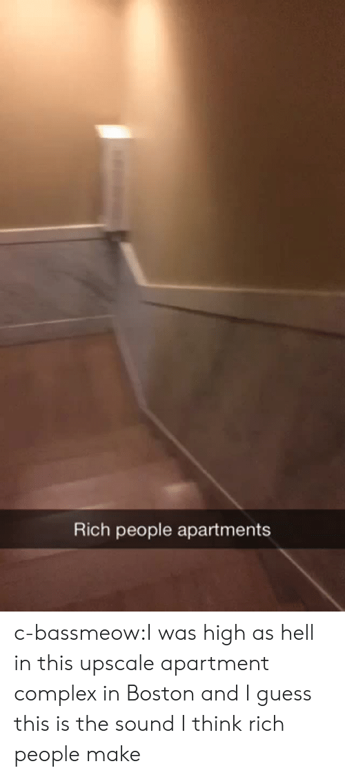 Complex: Rich people apartments c-bassmeow:I was high as hell in this upscale apartment  complex in Boston and I guess this is the sound I think rich people make