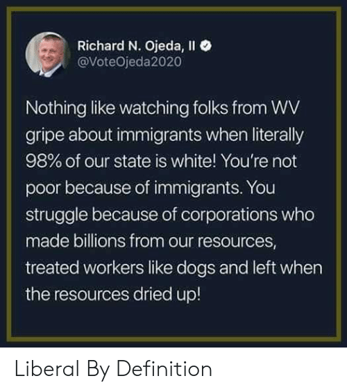 Billions: Richard N. Ojeda, Il  @VoteOjeda2020  Nothing like watching folks from WV  gripe about immigrants when literally  98% of our state is white! You're not  poor because of immigrants. You  struggle because of corporations who  made billions from our resources  treated workers like dogs and left when  the resources dried up! Liberal By Definition