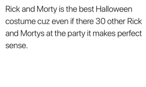 makes-perfect-sense: Rick and Morty is the best Halloween  costume cuz even if there 30 other Rick  and Mortys at the party it makes perfect  sense