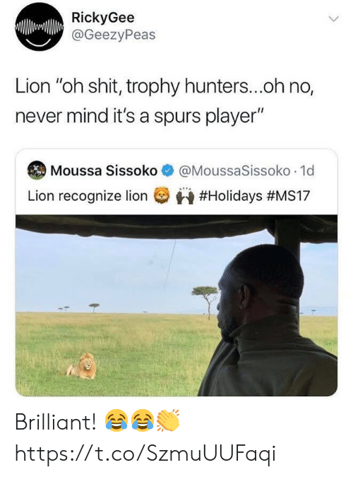"Spurs: RickyGee  @GeezyPeas  Lion ""oh shit, trophy hunters...oh no,  never mind it's a spurs player""  @MoussaSissoko 1d  Moussa Sissoko  Lion recognize lion  Brilliant! 😂😂👏 https://t.co/SzmuUUFaqi"