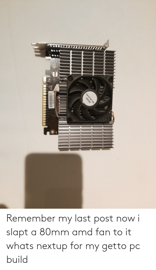 Amd, Rico, and Remember: RICO  1018  1014  R10a  FHSA7015B-1268  1908T06R  A131025004 T  U5  695 Remember my last post now i slapt a 80mm amd fan to it whats nextup for my getto pc build