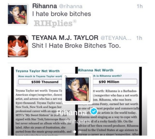 "Anna, Family, and Life: Rihanna @rihanna  I hate broke bitches  RIHplies  TEYANA M.J. TAYLOR @TEYANA.. 1h  Shit I Hate Broke Bitches Too.  1h  Taylor Net Worth hanna Net w  Rihanna Net Worth  How much is Teyana Taylor wort  h is Rihanna worth?  $500 Thousand  $90 Million  Teyana Taylor net worth: Teyana T  American singer/songwriter, dancer  artist, and actress who has a net wo  s500 thousand. Teyana Taylor was  New York, New York and began her  professional career with an app arn  t worth: Rihanna is a Barbados-  /songwriter who has a net worth  ion. Rihanna, who was born  anna Fenty, earned her net worth  s one of most popular and commercially  MTVs ""My Sweet Sixteen"" in 2Go. e  signed with Star Trek/Interscope Recrs  but never released an album while with ine  label. After six years of frustration, she  parted from the music group amicably, and moved to the United States at age sixteen to  sisic artists in the world today  Rihanna used singing as a way to cope with  het.าร)il of a rocky family life. On the  dvice of her then record producer, Rihanna"