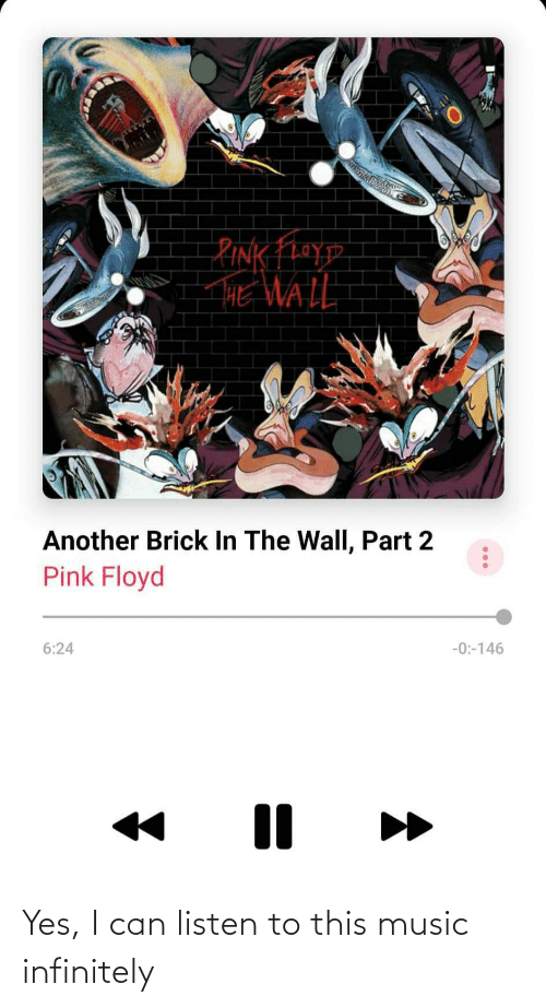 Rink: RINK FhoyD  HE WALL  Another Brick In The Wall, Part 2  Pink Floyd  6:24  -0:-146 Yes, I can listen to this music infinitely