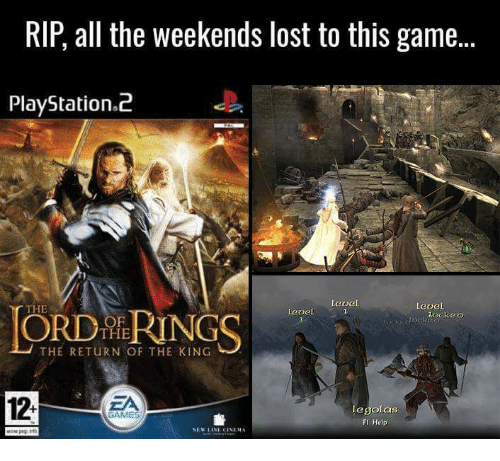 return of the king: RIP, all the weekends lost to this game...  PlayStation.2  ORDMRINGS  CTHE  ockeo  OF  THE  THE RETURN OF THE KING  12.  ZA  egolas  FI Help  GAMES
