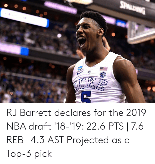 Nba, Nba Draft, and Top: RJ Barrett declares for the 2019 NBA draft  '18-'19: 22.6 PTS   7.6 REB   4.3 AST  Projected as a Top-3 pick