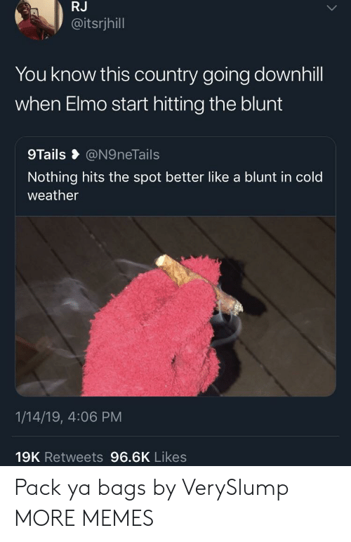 you-know-this: RJ  @itsrjhill  You know this country going downhill  when Elmo start hitting the blunt  9Tails @N9neTails  Nothing hits the spot better like a blunt in cold  weather  1/14/19, 4:06 PM  19K Retweets 96.6K Likes Pack ya bags by VerySlump MORE MEMES
