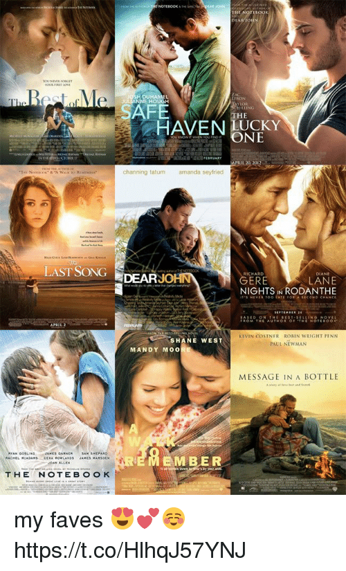 message in a bottle: RJONN  THE  560  DUHAMEL  NE HOUGH  FRON  FE  HE  HAVENCKY  ONE  PRIL 20 20  channing tatum  amanda seyfried  LAST SONG DEARJO  RICHARD  DIANE  LANE  NIGHTS IN RODANTHE  GERE  ITS NEVER TOO TATE FOR A SECOND CHANCE  ASED ON THE BEST-SELLING NOVEL  FROM THE AUTHOR OF THE NOTEROOK  KEVIN COSTNER ROBIN WRIGHT PENN  PAUL NEWMAN  SHANE WEST  MANDY MOO  MESSAGE IN A BOTTLE  AMES GARNER  AM SHEPA  EMBER  THENOTEBOO K my faves 😍💕☺️ https://t.co/HlhqJ57YNJ