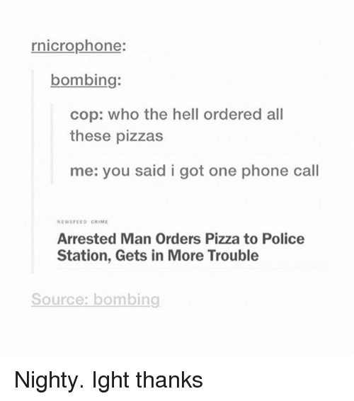 Criming: rnicrophone:  bombing:  cop: who the hell ordered all  these pizzas  me: you said i got one phone call  NEWSFEED CRIME  Arrested Man Orders Pizza to Police  Station, Gets in More Trouble  Source: bombing Nighty. Ight thanks