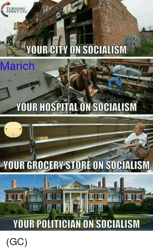 Inting: RNING  INT USA  YOUR CITY ON SOCIALISM  Marich  YOUR HOSPITAL ON SOCIALISM  YOUR GROCERY STORE ON SOCIALISM  fi  YOUR POLITICIAN ON SOCIALISM (GC)