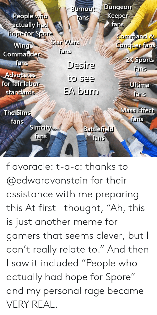 """Mass Effect: rnout Dunge  fans  Keep  fa  People yno  ctually h  nope  StarWars  Wingo  Coriciuer ar  Commafnde  TErris  Desire  Sports  aris  ranns  Advo  for fair lab  Ultima  EA burn  rainns  Mass Effect  The Sim  fans  rar  Si  rel  irs flavoracle:  t-a-c: thanks to @edwardvonstein for their assistance with me preparing this  At first I thought, """"Ah, this is just another meme for gamers that seems clever, but I don't really relate to.""""  And then I saw it included """"People who actually had hope for Spore"""" and my personal rage became VERY REAL."""