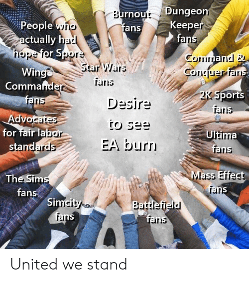 Battlefield: rnout Dungeo  fans  Keep  fa  People  ric  ctually h  rlope Torpor  Star Wars  Wing  Commande  ans  ran  Desire  Sports  rand  for fair la  stand  Ultima  fri  EA burr  ains  Mass Effect  The Sim  fans  rar  Si  Battlefield  iris United we stand