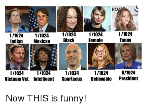 Believable: RO  MEDY  1/1024 1/1024  Indian Mexican  1/1024  Black  1/1024  Female  1/1024  Funny  1/1024  Vietnam Vet Intelligent Spartacus Believable President  1/1024  1/1024  1/1024  0/1024 Now THIS is funny!