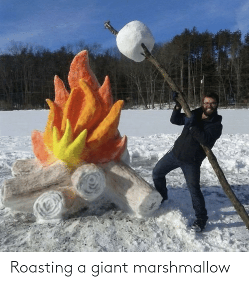 Giant, Marshmallow, and Roasting: Roasting a giant marshmallow