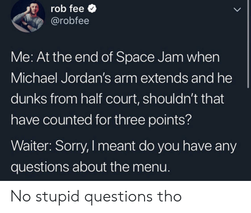 Jordans, Sorry, and Michael: rob fee  @robfee  LL  Me: At the end of Space Jam when  Michael Jordan's arm extends and he  dunks from half court, shouldn't that  have counted for three points?  Waiter: Sorry, I meant do you have any  questions about the menu. No stupid questions tho