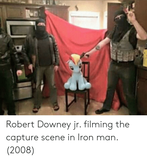 Robert Downey Jr.: Robert Downey jr. filming the capture scene in Iron man. (2008)