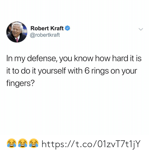 Football, Nfl, and Sports: Robert Kraft  @robertkraft  In my defense, you know how hard it is  it to do it yourself with 6 rings on your  fingers? 😂😂😂 https://t.co/01zvT7t1jY