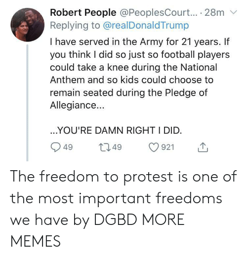 National Anthem: Robert People @PeoplesCourt... 28m  Replying to @realDonaldTrump  I have served in the Army for 21 years. If  you think I did so just so football players  could take a knee during the National  Anthem and so kids could choose to  remain seated during the Pledge of  Allegiance...  ..YOU'RE DAMN RIGHT I DID.  L2.49  921  49 The freedom to protest is one of the most important freedoms we have by DGBD MORE MEMES