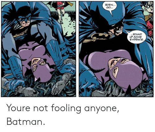 Batman, Robin, and You: ROBIN...  GO..  ...ROUND  HP SOME  EVIDENCE Youre not fooling anyone, Batman.