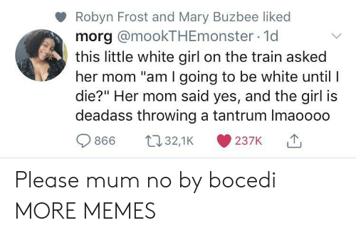"tantrum: Robyn Frost and Mary Buzbee liked  morg @mookTHEmonster 1d  this little white girl on the train asked  her mom ""am I going to be white until I  die?"" Her mom said yes, and the girl is  deadass throwing a tantrum Imaoooo  t32,1K  866  237K Please mum no by bocedi MORE MEMES"