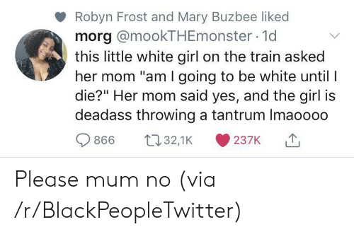 "tantrum: Robyn Frost and Mary Buzbee liked  morg @mookTHEmonster 1d  this little white girl on the train asked  her mom ""am I going to be white until I  die?"" Her mom said yes, and the girl is  deadass throwing a tantrum Imaoooo  t32,1K  866  237K Please mum no (via /r/BlackPeopleTwitter)"