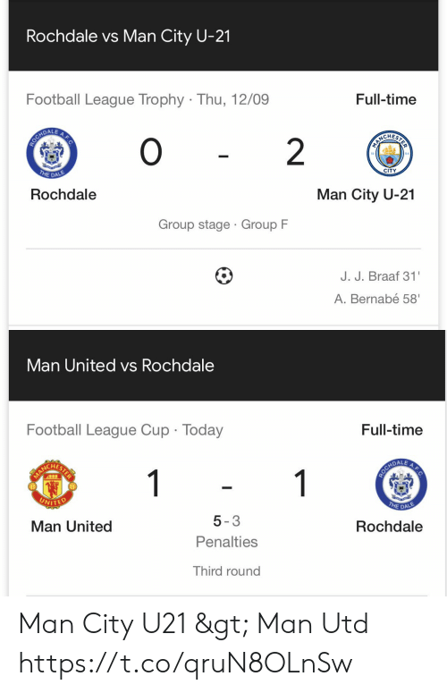 trophy: Rochdale vs Man City U-21  Football League Trophy Thu, 12/09  Full-time  0  ROCHDALE  O  PIRCHERIS  2  THE DALE  CITY  Rochdale  Man City U-21  Group stage Group F  J. J. Braaf 31  A.Bernabé 58'  A.F.C   Man United vs Rochdale  Full-time  Football League Cup Today  A.F.C  1  HARLCHETER  THE DALE  UNITED  Rochdale  5-3  Man United  Penalties  Third round Man City U21 > Man Utd https://t.co/qruN8OLnSw