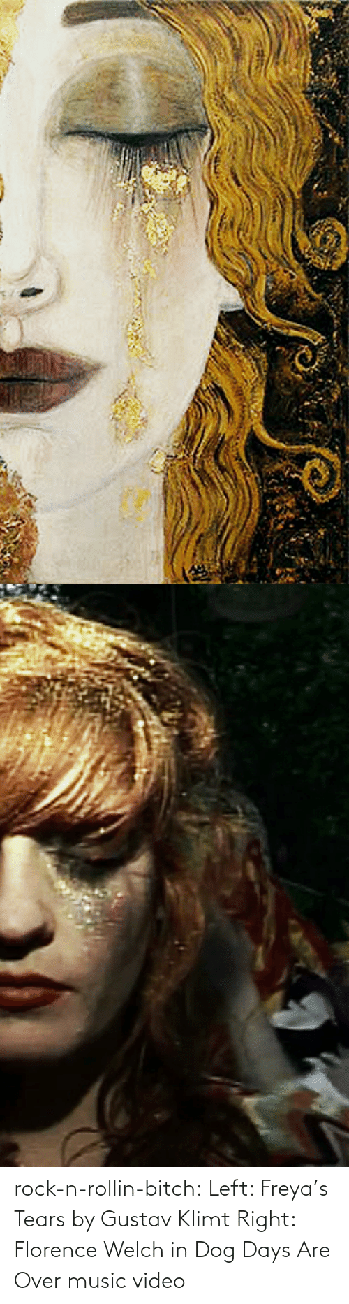 Music Video: rock-n-rollin-bitch: Left: Freya's Tears by Gustav Klimt Right: Florence Welch in Dog Days Are Over music video