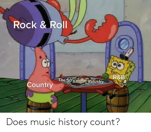 Count: Rock & Roll  R&B  The 50's music industry  Country Does music history count?